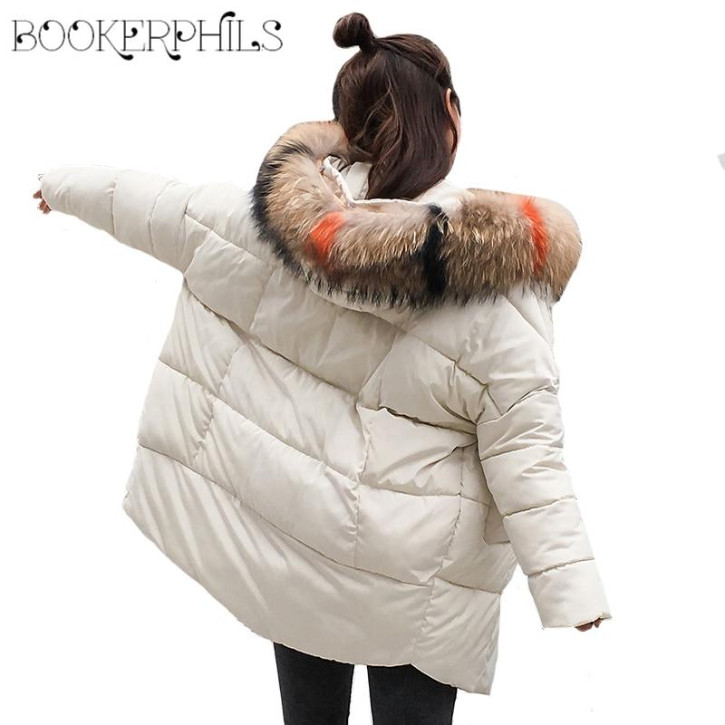 Artificial Fur Collar Winter Jacket Women Parkas Big Size Loose Hooded Thicken Cotton Warm Winter Female Coat 2018 Outwear M-2XL
