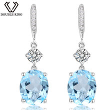 DOUBLE-R 6.9ct Genuine Natural Blue Topaz Pure 925 Sterling Silver Dangle Earrings for Women Wedding fine Jewelry Drop Earrings