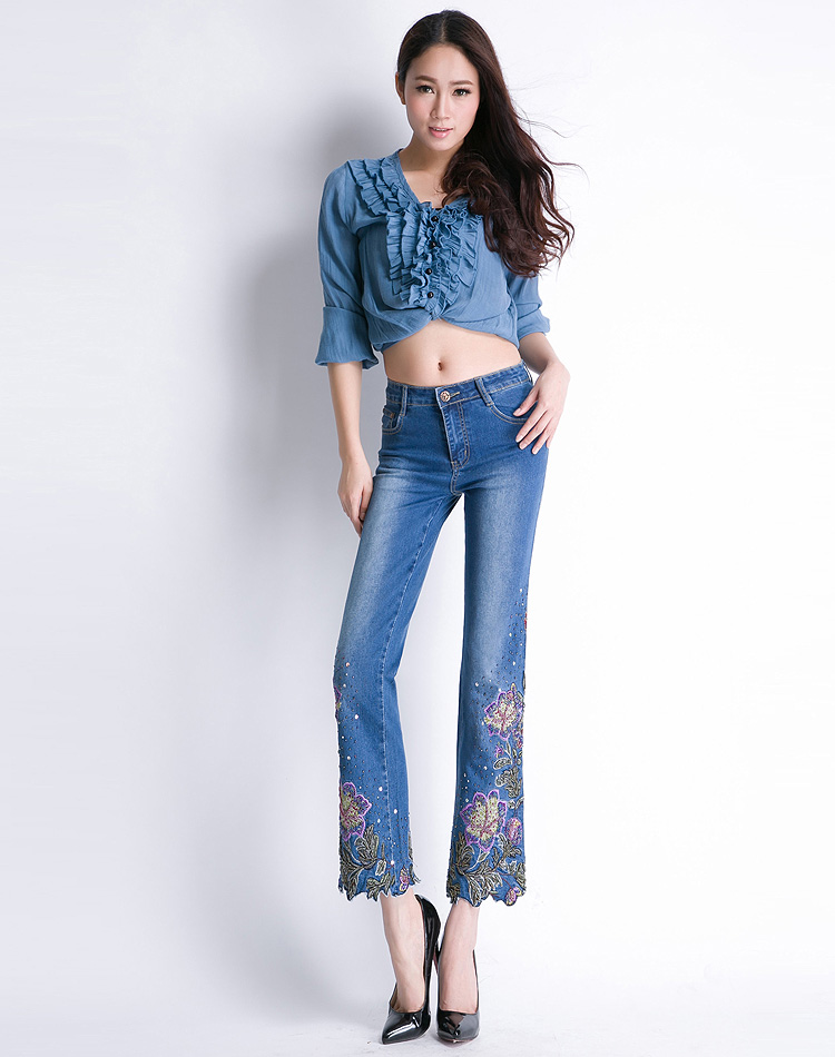 KSTUN FERZIGE Women Jeans High Waist Stretch Floral Embroidered Flares Bell Bottoms Hand Beading Slim Fit Boot Cut Ankle-length Pants 16