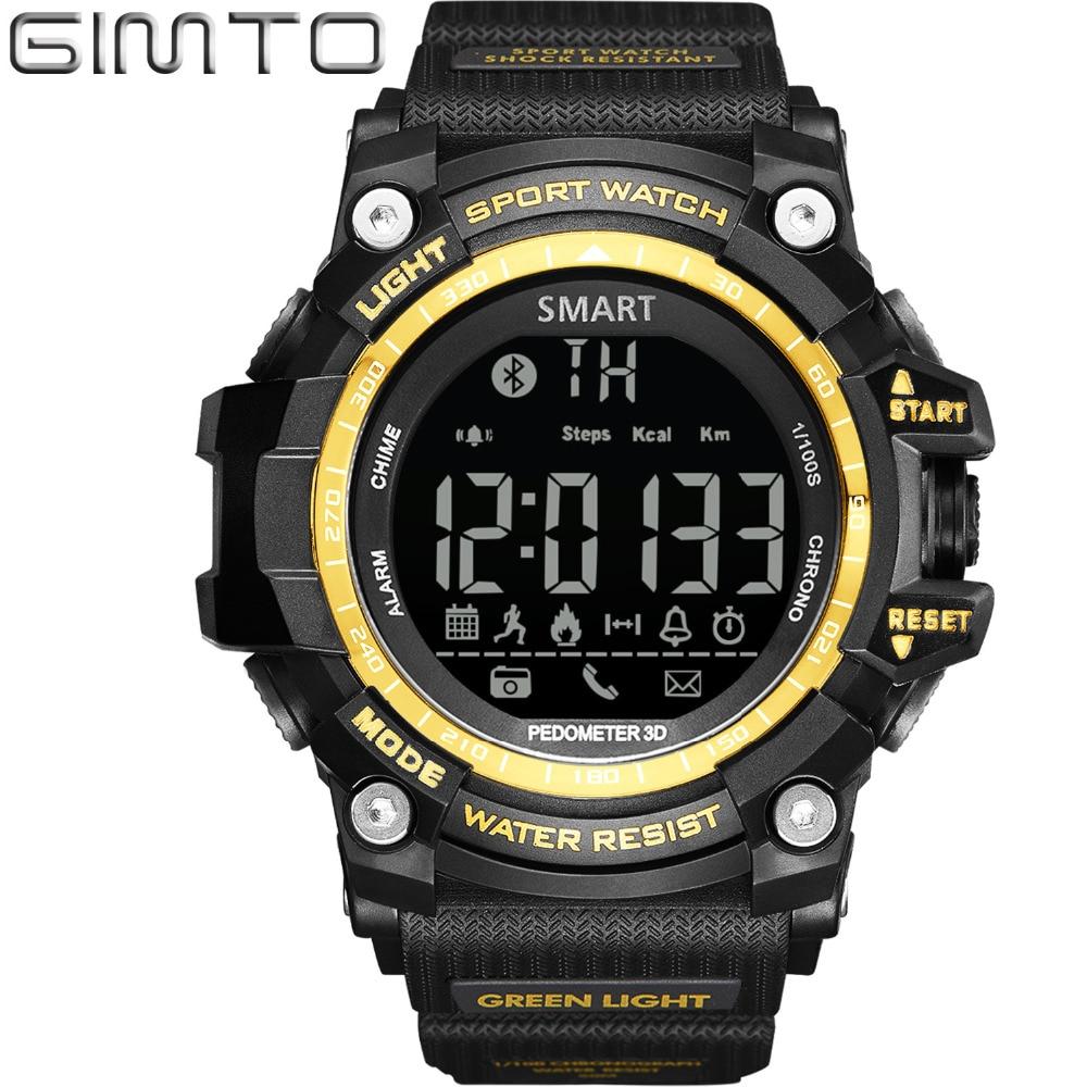 ФОТО GIMTO Digital Watch Men Waterproof LED Men Sport Watches Military Pedometer Bluetooth Chronograph electronic Smart Watch Relogio