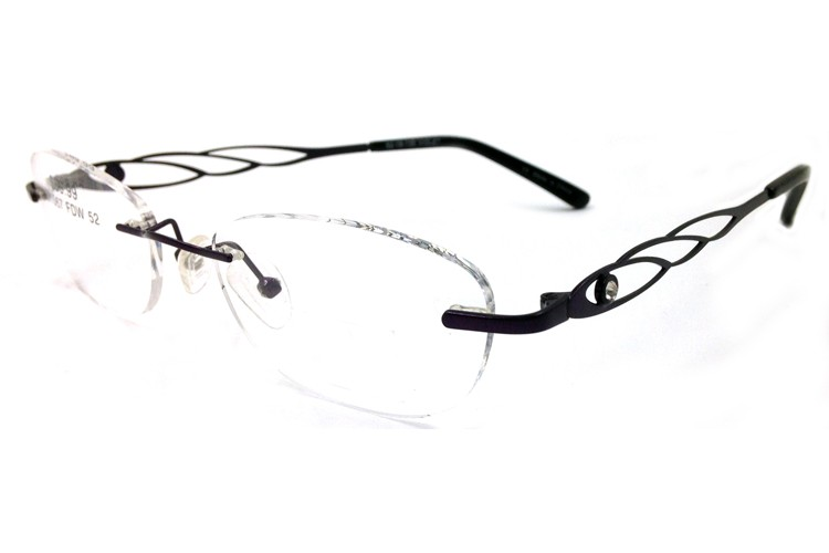 Titanium Memory Flexible Rimless Glasses Frame Women (1)