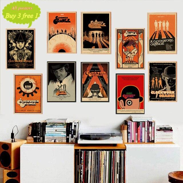 Póster de película para pared naranja con diseño de reloj, Bar, café, decoración artística, póster, pegatina para pared, decoración del hogar