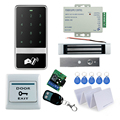 RFID Door access control system kit set metal touch keypad with Electric magnetic Lock+12V power+exit button+remote control+keys