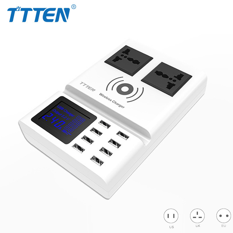 TTTEN QI Wireless Charger 8 USB Ports Mobile Phone Charger Smart LED Digital Display AC Power Socket Outlet Adapter Phone Holder