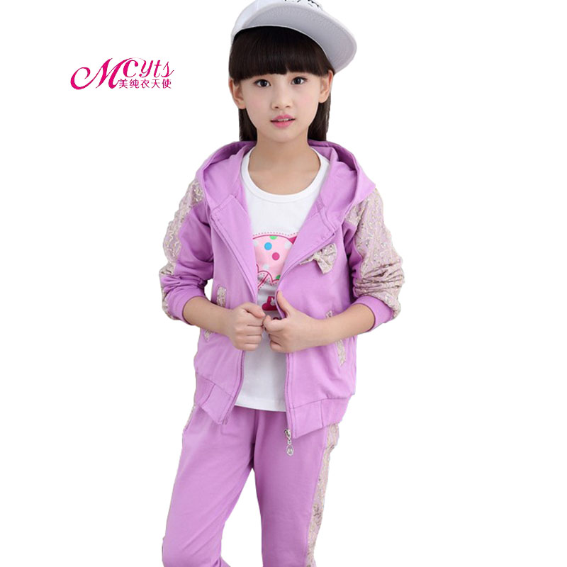 Girls Tracksuit Sets Spring Autumn Fashion Sequin Outfit Children Clothes 3 Pcs/Sets Girls Sports Suits 4 6 8 10 12 14 15 Years 2016 fashion spring autumn girls suits brand designer flower children set sweatshirts coats jeans t girls 3 sets