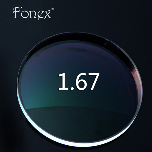Fonex 1.67 Тонкий Индекс Рецепту Линзы Асферические CR-39 Смолы Очки Линзами за Близорукость Очки Линзы С Зеленым Покрытием