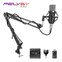 High Quality Wired Stereo Condenser Microphone With Holder Clip Shock Mount For Chatting Singing Karaoke PC