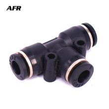 10PCS/LOT PE4 6 8 pe10 12 14 16 Pneumatic Push In Tee 3-Way Fitting Plastic Pipe Connector Quick
