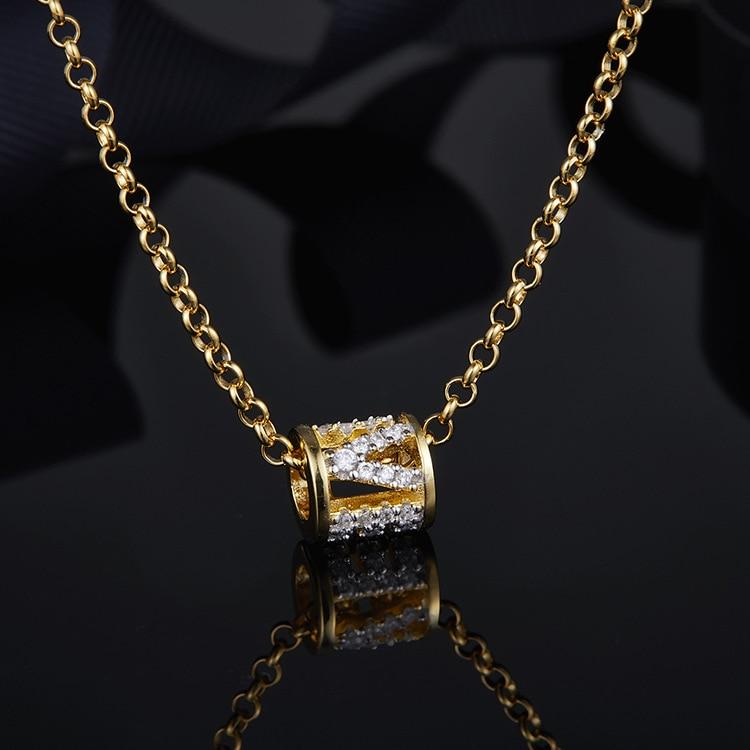 Top qualité 925 bijoux en argent sterling lettre innitial amour collier lettres bébé pendentif couleur or cz pierre choker monaco - 3