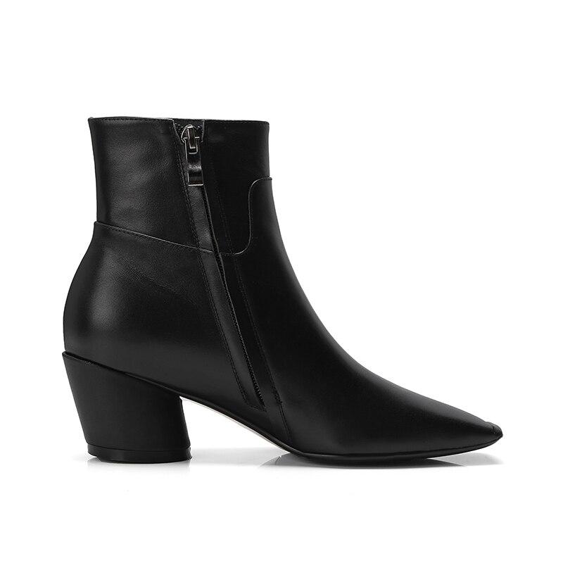 De Carré 2018 Mode Cuir black Nouveau En Bottines Boot Femme Plush Vache Bout Épais Noir Short Chaussures Haute Noir Femmes Isnom Femelle Talons Zip 0SCqPxw