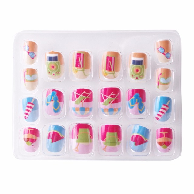 Beach Kawaii False Nails For Children 5 Sizes 20 Pcs Pre Glue Press On Summer