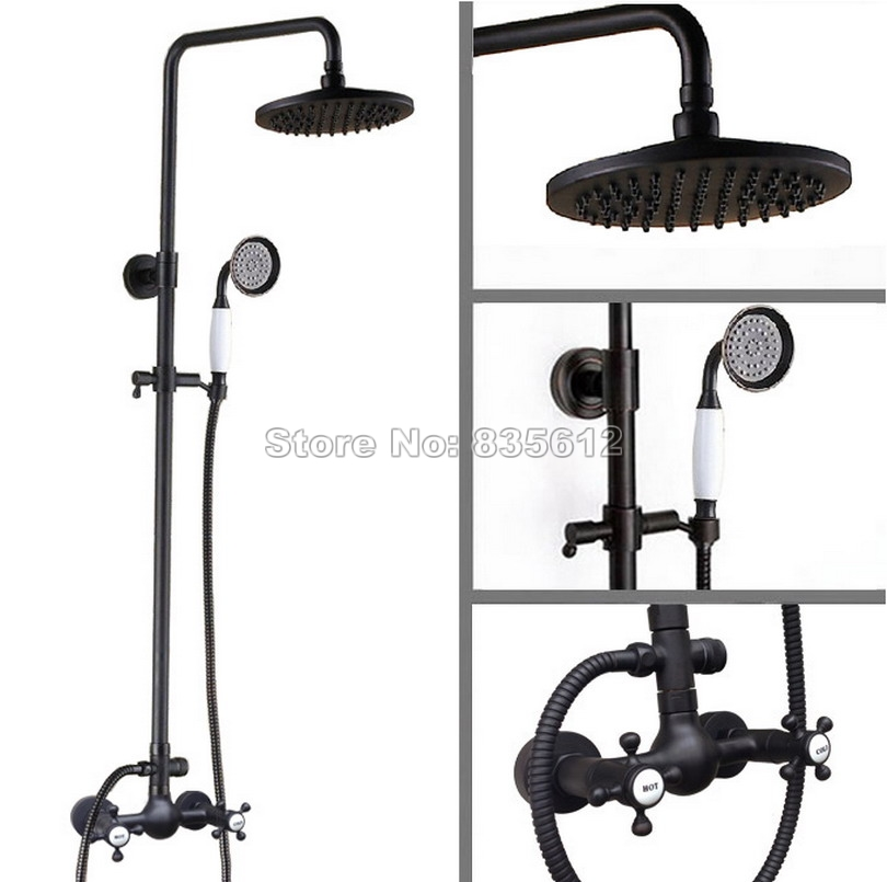 Black Oil Rubbed Bronze Wall Mounted Bathroom Dual Handles Mixer Taps & Rain Shower Faucet Set with Hand Shower Head Wrs494