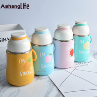Simple Cute Cat Cartoon English Thermos Cup Belly Section Handle Fashion Female Student Water Cup