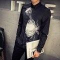 Camisa masculina 2016 осень с длинным рукавом рубашки мужчины мода печати повседневная slim fit цветочные рубашка сорочка homme манш longue 5xl-m
