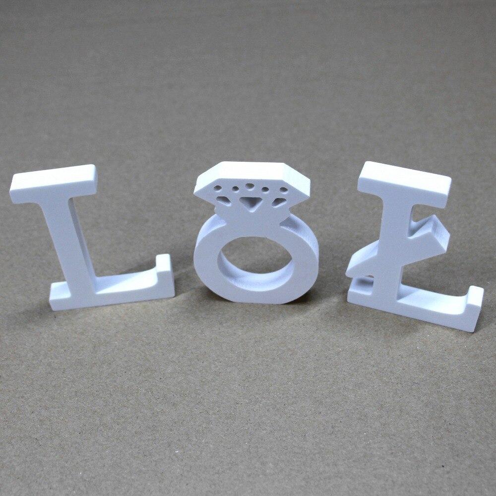 Купить с кэшбэком A-Z Free Standing 8cm 09 Artificial Wooden Wood Letter Alphabet Word Wedding Party Home Decor Butterfly crown heart Diamond ring