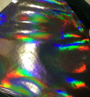 gray Synthetic Laser Holographic PU Leather with Radium ColorFul Film Faux Leather Fabric material
