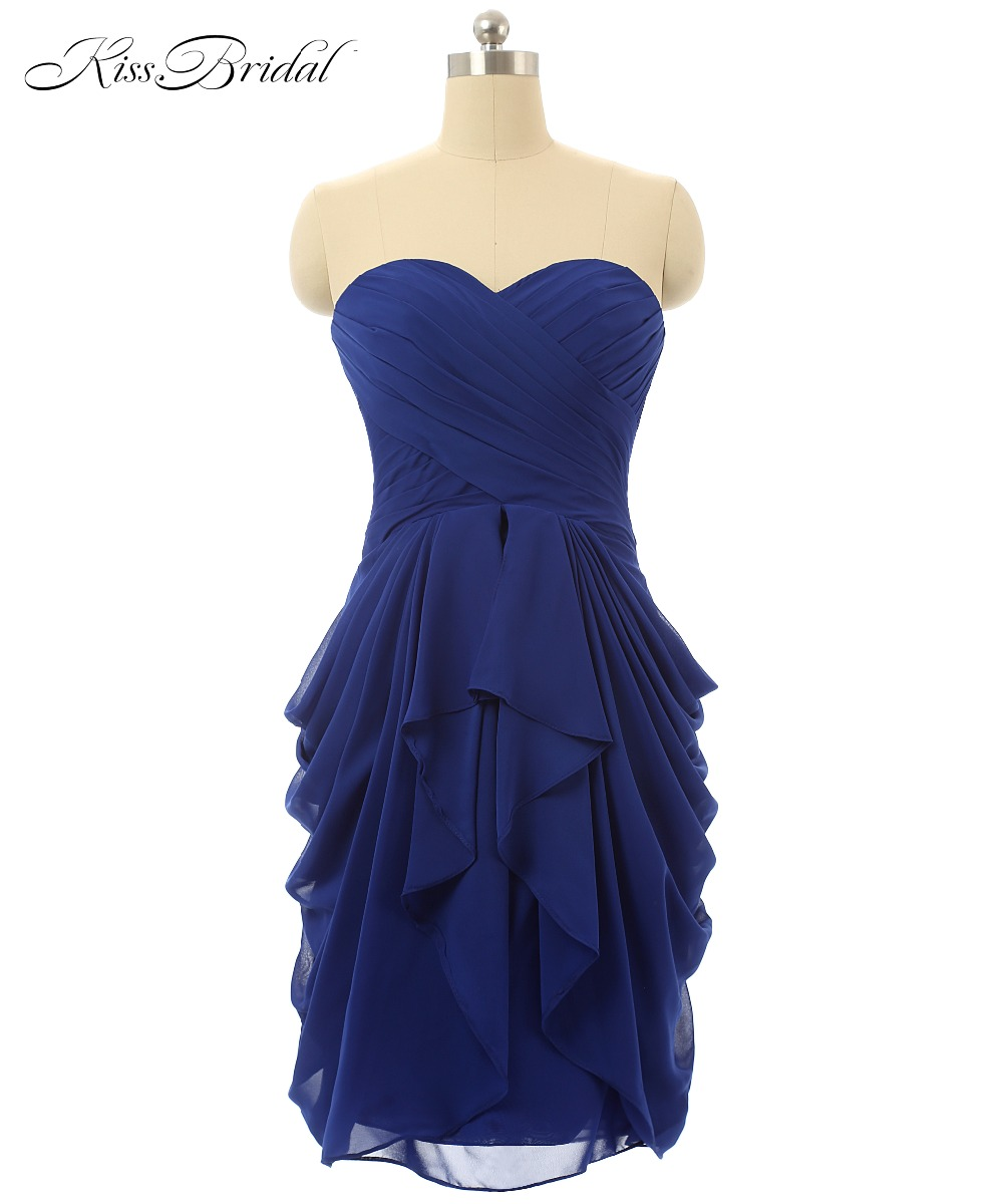 Cocktail     Dresses   2017 Blue Sweetheart Sleeveless Lace Up Back Chiffon A-Line Short Party Prom Gowns Veatidos De Festa