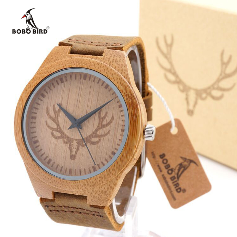 BOBO BIRD Buck Head Natural Bambam Watch With Genuine Leather Band Luxury Bamboo Customed Watch with Paper Gift BoxBOBO BIRD Buck Head Natural Bambam Watch With Genuine Leather Band Luxury Bamboo Customed Watch with Paper Gift Box
