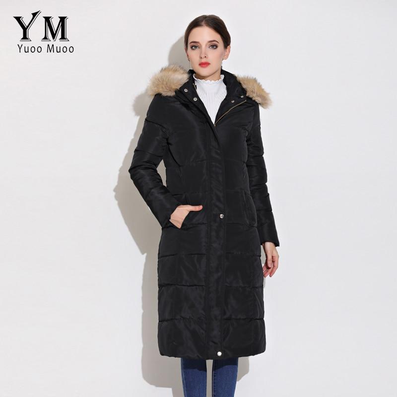 YuooMuoo Apparel New Fur Collar Hooded Long Winter Jacket Women Windproof Cotton Padded Parka Warm Women Coat Black Parka цена 2017
