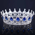 2016 New big European royal crown gold or silver plated blue rhinestone tiara super large queen crown wedding hair accessories