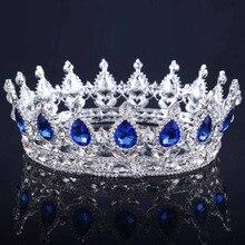 2017 Новый Большой Европейский Ryal Корона Серебряный Цвет Синий Горный Хрусталь Тиару Супер Большой Королева Корона Свадебные Аксессуары Для Волос