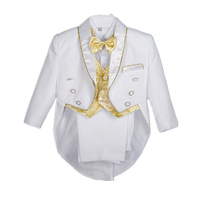 BBWOWLIN White Baby Boy Clothes Kids Tuxedo Suit Clothing Set for 1-4T Wedding Dress Birthday Party 90101 2pcs set baby clothes set boy