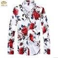 Más el Tamaño de Los Hombres Camisa de Vestir de Flores 2017 Marca Primavera Ocasional de la Franela Rose Impreso Camisas de Manga Larga Camisetas Masculinas Otoño