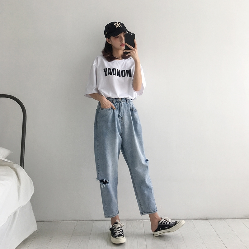WQJGR 2018 Summer Holes Haren Pants Jeans Woman Easy Long Fund Loose And Comfortable Nine Part Pants 4