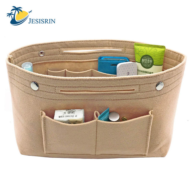Makeup Storage Organizer,Felt Cloth Insert Storage Bag Multi-pockets Fits in Handbag Cosmetic Toiletry Bags for Travel Organizer