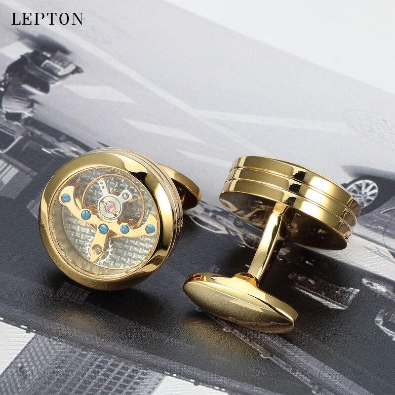 Gemelos de movimiento Lepton Gold Color Tourbillon para hombres reloj - Bisutería - foto 4