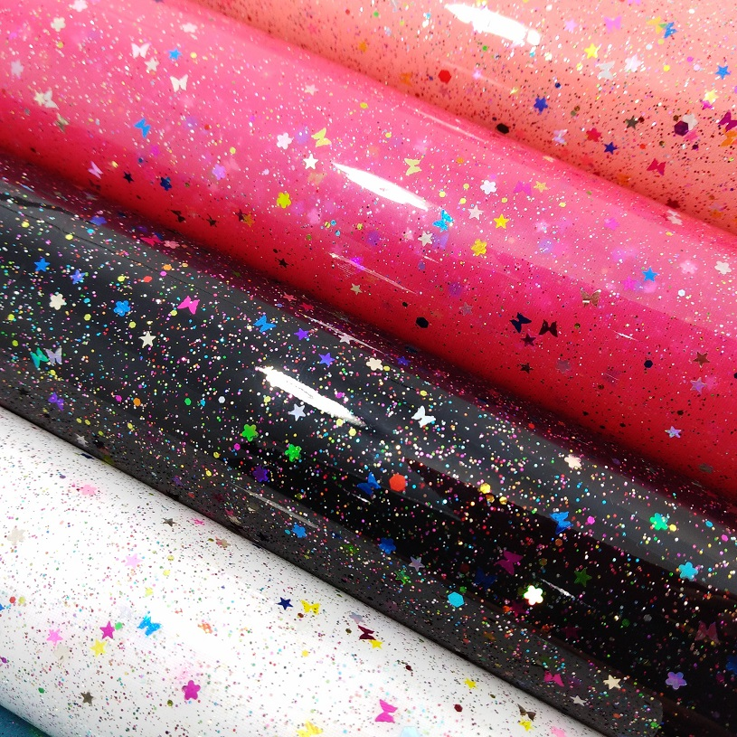 1 YARD SIZE 91x134CM NUBUCK TPU fabric with multicolored glitters and confettis P1610