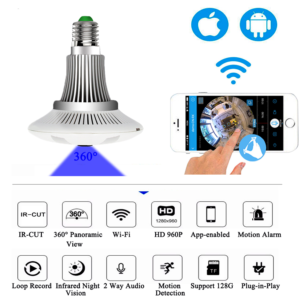 360 Degree Wireless IP Mini Camera Bulb Light FishEye Smart Home CCTV 3D VR 1.3MP Home Security WiFi Cam Panoramic Surveillance new 180 degree panoramic fisheye ip camera wifi security surveillance camera vr 3d cam cctv camera