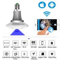 360 Degree Wireless IP Mini Camera Bulb Light FishEye Smart Home CCTV 3D VR 1 3MP