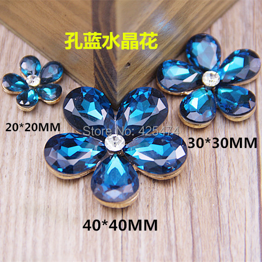Free Shipping 10pcs 20mm/30mm/40mm Dark Blue Crystal Rhinestone Jewelry Daisy Flower Charms Metal Gold Tone Plated Floral Button Jewelry & Accessories