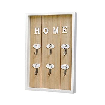 "Hot Sale INS Scandinavian Style Wall Decoration Handmade Wooden ""HOME"" Key Box Creative Key Box Wall Creative Room Decoration"