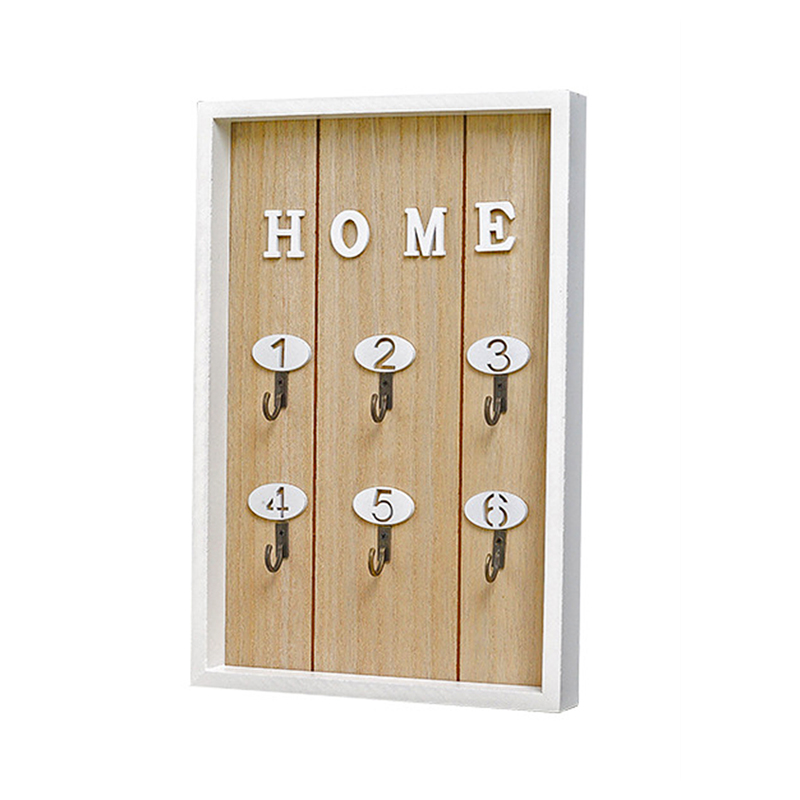 "Hot Sale INS Scandinavian Style Wall Decoration Handmade Wooden ""HOME"" Key Box Creative Key Box Wall Creative Room Decoration"