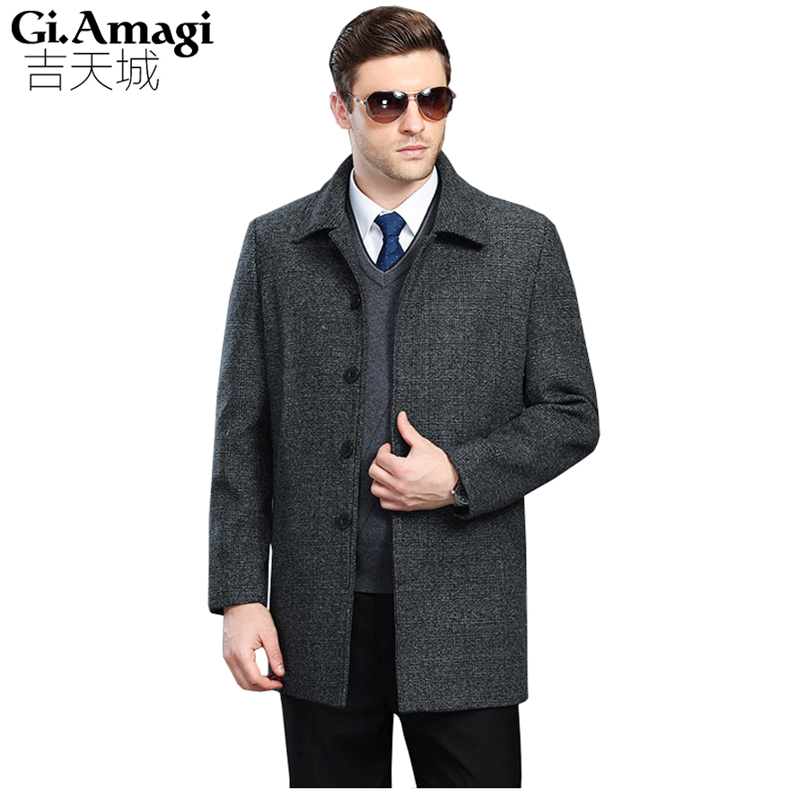 Men's Wool Coats Jackets Winter Cashmere Jackets Man Short Site Single-breasted Coat Turn-down Collar Plus Size 5xl Woolen Coats