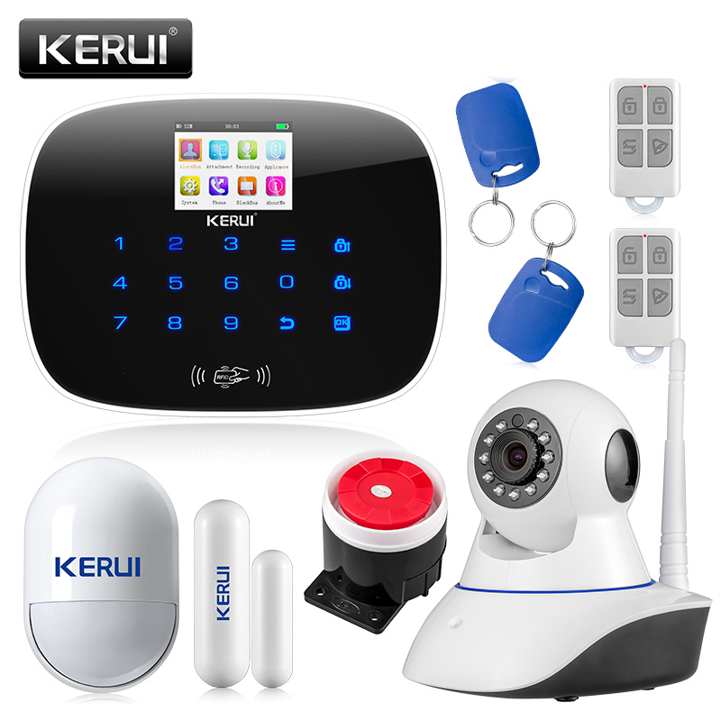 KERUI LCD PIR Sensor GSM Autodial House Office Burglar Intruder Alarm System Support 2G/4G signal Android and IOS APP Control kerui new 900 1800 1900mhz wireless gsm pstn burglar security alarm system for home house garden store shop office