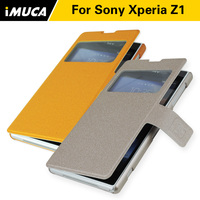 Luxury Texture Leather Standing Phone Cover Case For Sony Xperia Z1 Magnetic Flip Case For Sony