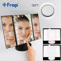 Frap 22 LED Light Makeup Mirror Touch Screen 1X 10X Table Desktop Countertop Bright Adjustable USB Cable Or Batteries Use Y61009