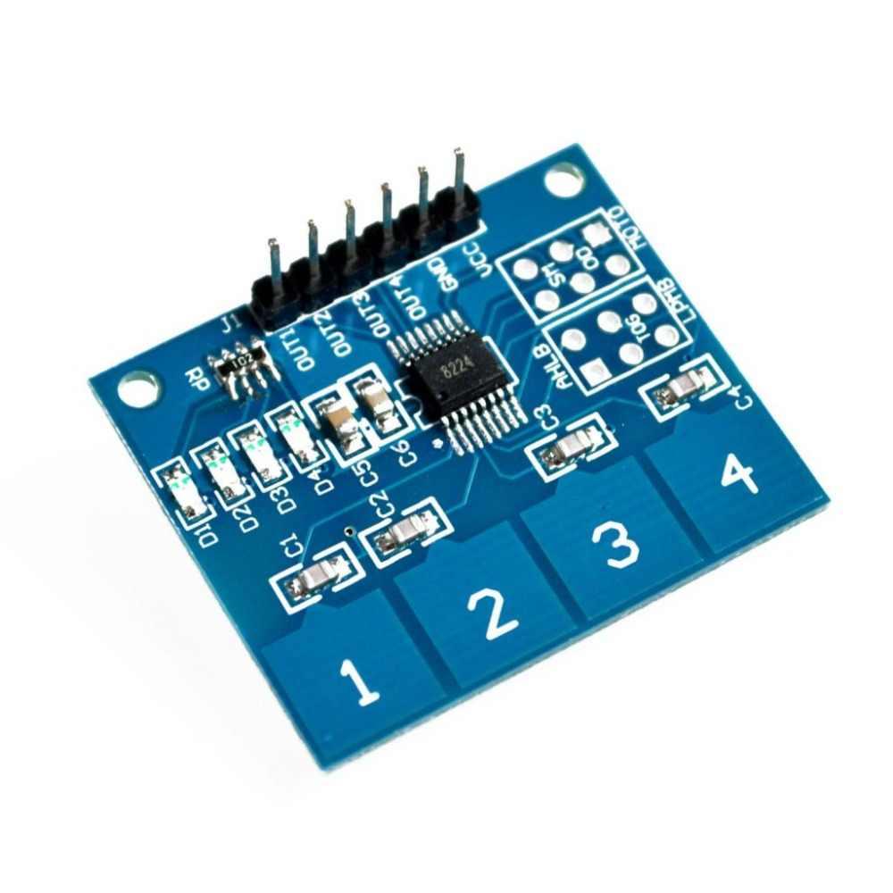 """TTP224 4-полосная 4 канала емкостный сенсорный выключатель цифровой сенсорный экран Сенсор модуль для Arduino стартер """"сделай сам"""" обучающий комплект модели RC"""