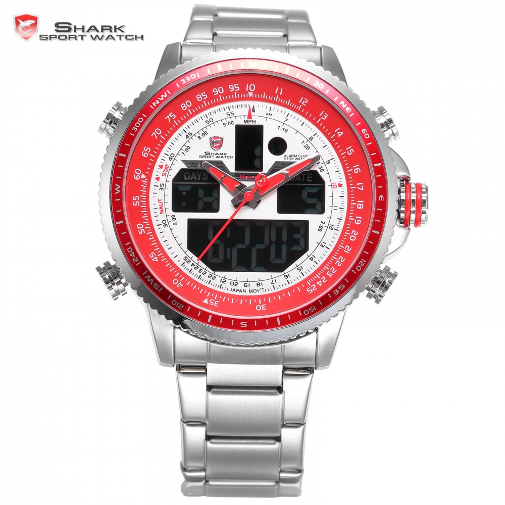 Winghead Shark Sport Watch Luxury LCD Digital Red White Dual Time Date Alarm Stopwatch Steel Strap Mens Quartz Wristwatch /SH328 brand new ohsen rectangle dial digital dual time lcd mens date alarm stopwatch analog quartz sport leather wrist watch ohs034