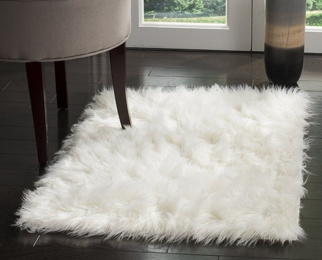 High Quality Faux Sheepskin Rug Silky Ivory Area Shag Bedroom Fur