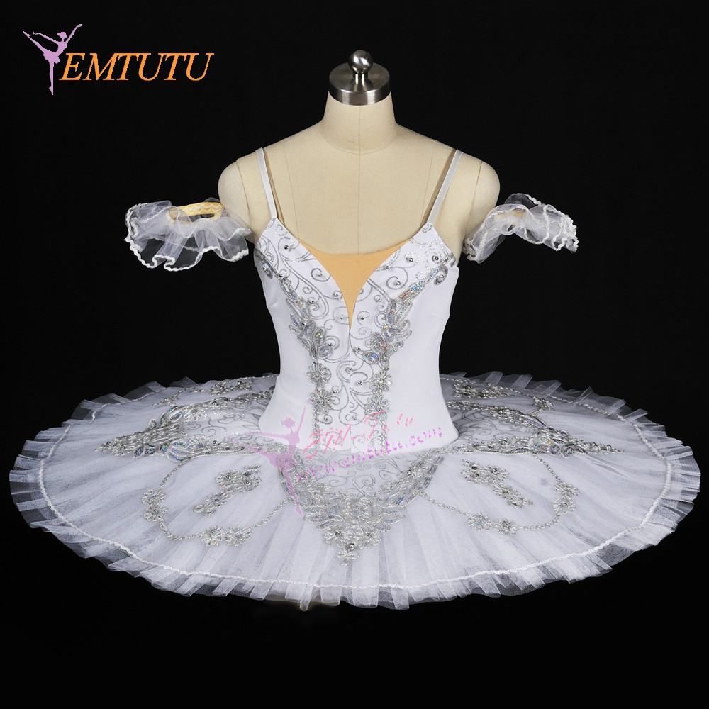adult women professional tutu silver white pancake performance tutus adult ballet stage costumes Grand Pas Classique