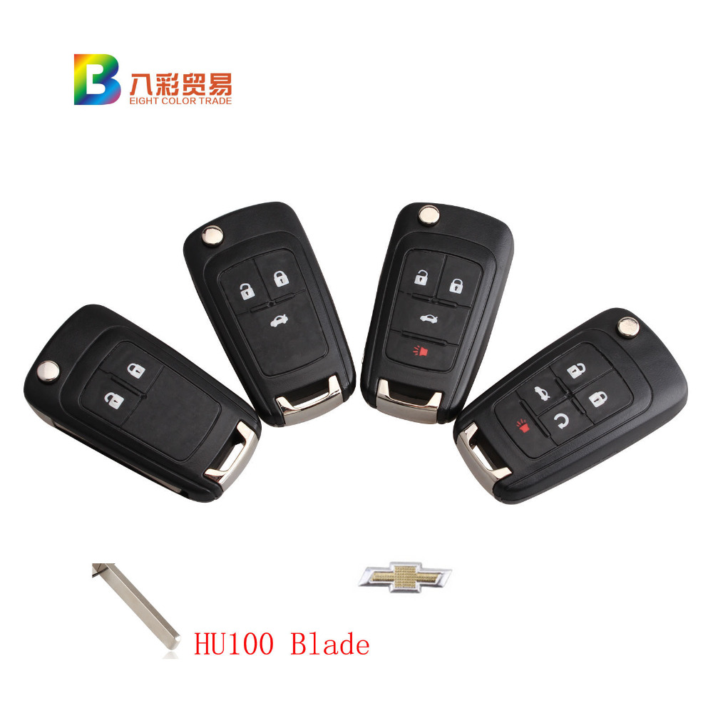 Flip Folding Key Shell for Chevrolet Remote Key Case Keyless Fob 2/3/4/5 Button Uncut HU100 Blade LOGO included new remote key fob 3 button 433mhz id83 for mazda cx 5 ske13e 01 uncut blade