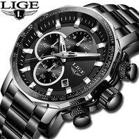 Relogio Masculin LIGE New Mens Watches 최고 브랜드 럭셔리 풀 스틸 스포츠 크로노 그래프 쿼츠 시계 방수 빅 다이얼 시계 남성