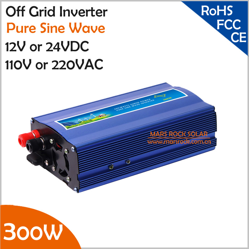 300W off grid inverter, 12V/24V DC to AC110V/220V pure sine wave inverter for small solar or wind power system, surge power 600W wind solar hybrid system dc ac off grid 12v 220v pure sine wave 1500w inverter