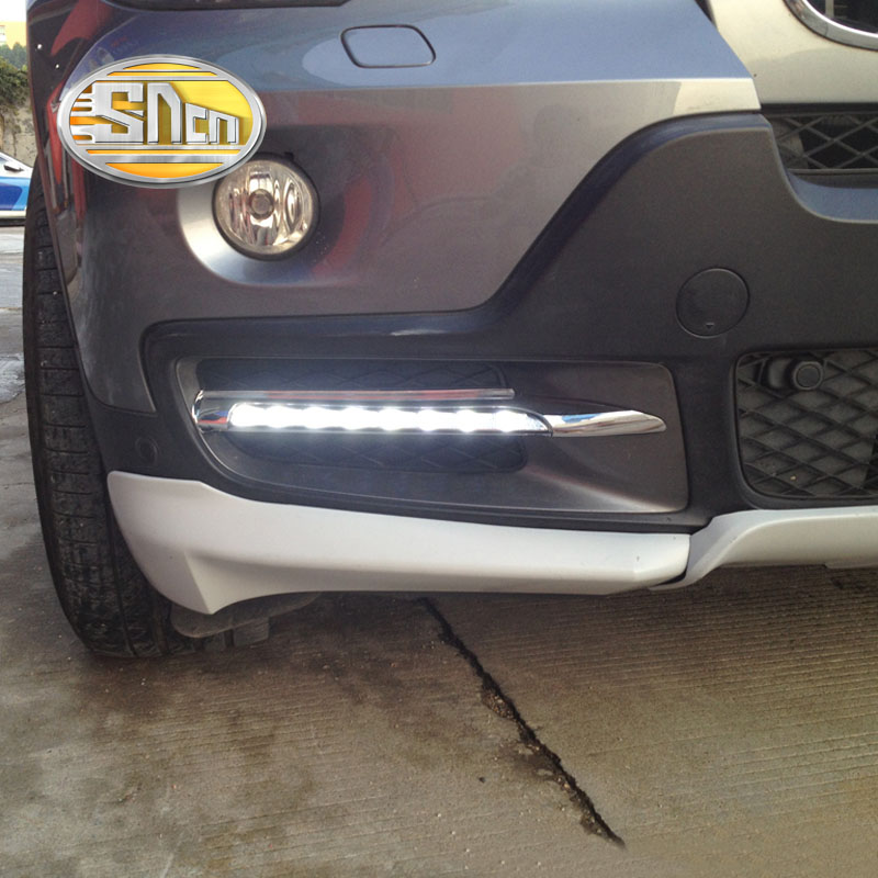 SNCN Super Brightness Waterproof Chromed Strip 12V Car DRL LED Daytime Running Light Daylight For BMW X5 E70 2007 2008 2009 2010 oem fit car daytime running light 6 led drl daylight kit for for bmw x5 e70 07 09 super white 12v dc head lamp