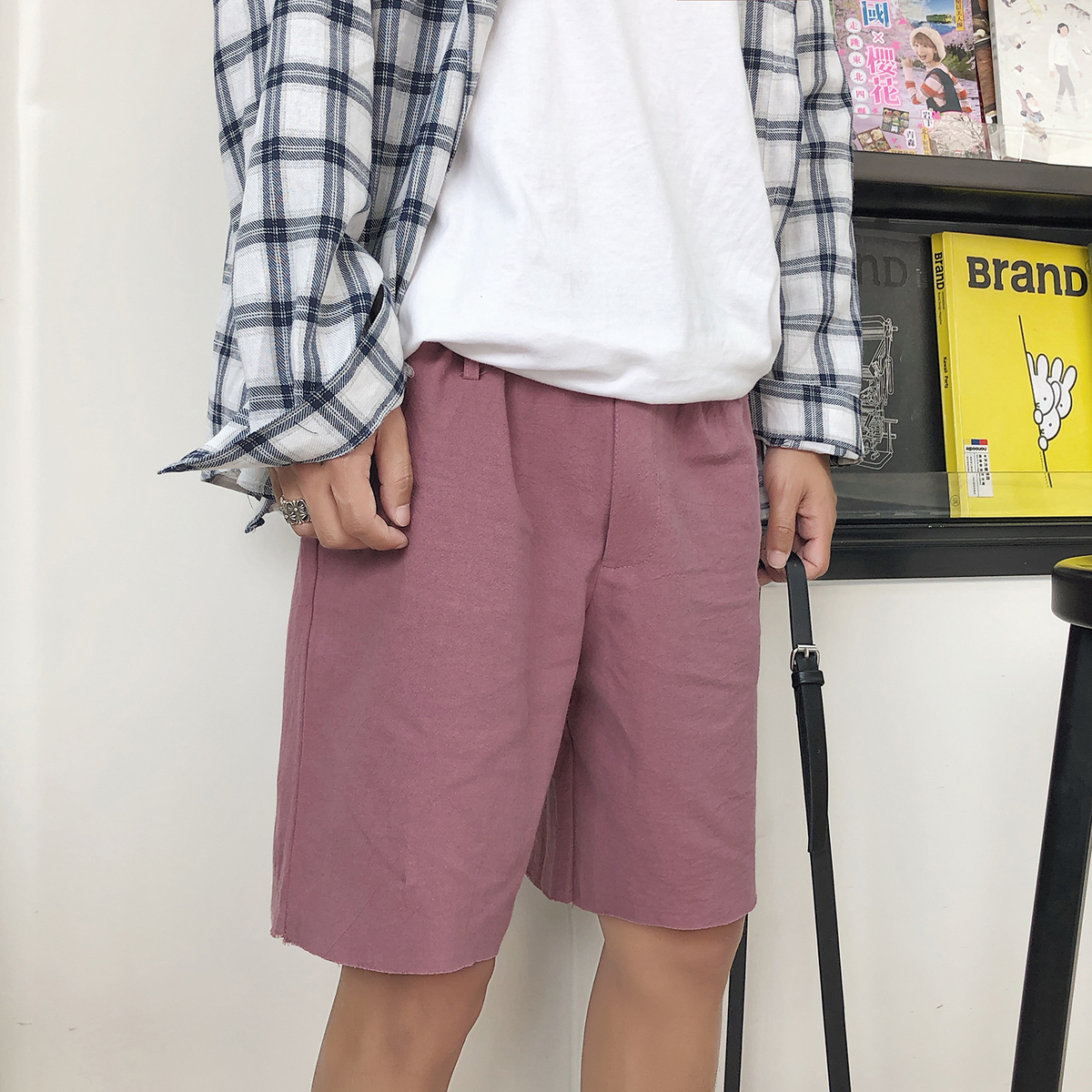 Summer 2018 New Fashion Mens Korean Style Youth Casual Shorts Tide Loose Black/Pink/khaki Color Haren Trousers Size M-2XL