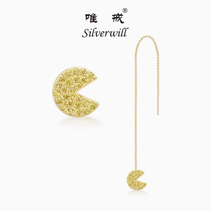 Silverwill 2018 Sterling 925 Silver gold pac man ghost stud earrings women fashion jewelry stylish thread earring for girls pair of stylish rhinestone triangle stud earrings for women
